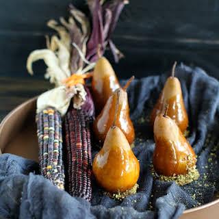 Caramel Dipped Bosc Pears.