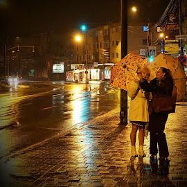 Rainy Night in Bacău City by Serban Lucian - City,  Street & Park  Street Scenes ( city scene, city lights, city street, city that never sleeps )
