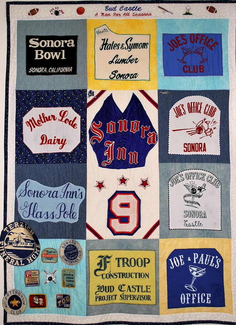 Quilt made by Bud's daughter, Carol, with pieces from his team t-shirts. The #9 image at center is from his shirt when he pitched for the Sonora Quarterback Club, a softball team he played on for years. The other border images are from bowling shirts.
