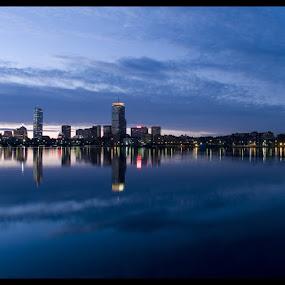 Boston, MA by Jerzy Szablowski - City,  Street & Park  Skylines ( skyline, boston, blue, cityscape, sunrise, light )