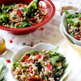 Fall Farro Salad with Pomegranate Seeds & Cranberries and Maple Apple Cider Vinegar Dressing.