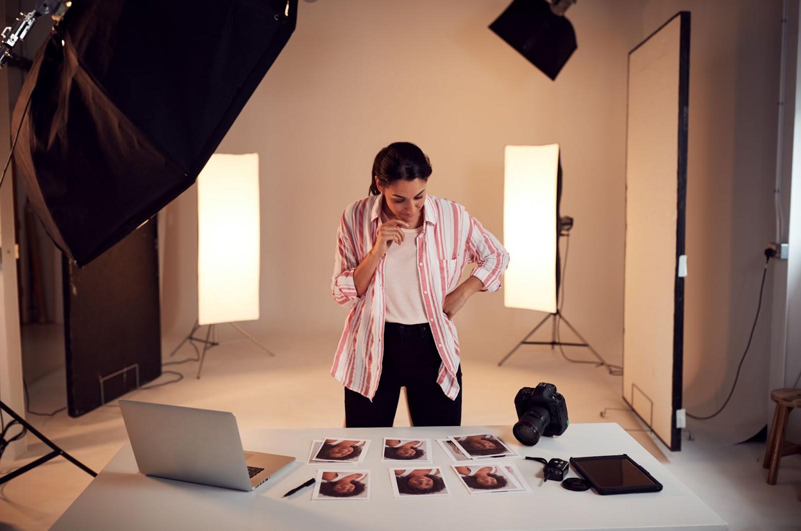 Woman in photo studio
