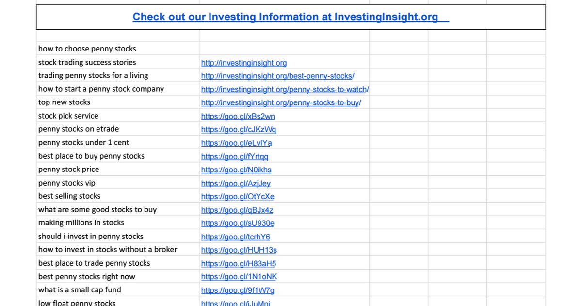 picking penny stocks sheet google sheets