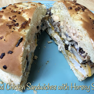 Grilled Chicken Sandwiches with Horsey Sauce.