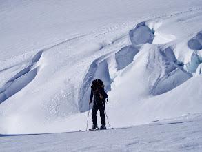 Photo: Ski touring through glaciated terrain in the Southern Alps