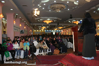 Photo: March 8, 2012- Kabul: Najeeba, a female activist of the Solidarity Party of Afghanistan delivers her speech.