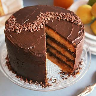Lemon Cake With Dark Chocolate Ganache [Vegan].