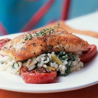 Crispy Salmon with Risotto and Slow-Roasted Tomatoes.