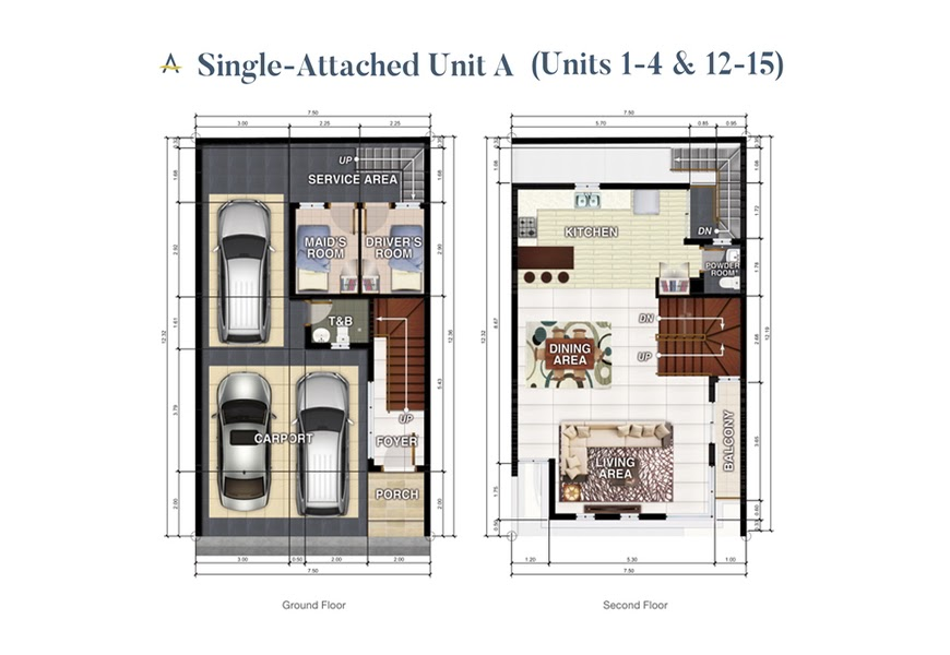 Brizlane Residences Unit A - Ground and 2nd floor plan