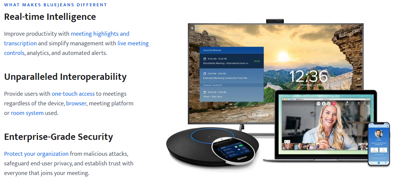 Information about BlueJeans, its features, and a desktop, laptop, phone, and a speaker.