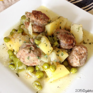Andouille Sausages with Peas Potatoes and Leeks.
