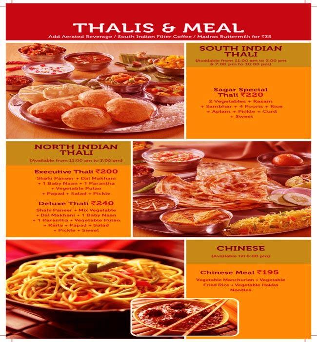 Sagar Ratna menu 2