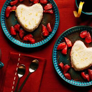 Coeur à la Crème With Roasted Strawberry Sauce.
