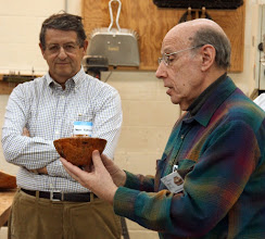 Photo: David Jacobowitz presents his coolibah burl hollow form vessel.