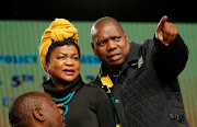 Speaker of Parliament Baleka Mbete (L) looks on as ANC treasurer general Zweli Mkhize gestures during the last day of the six-day meeting of the African National Congress 5th National Policy Conference at the Nasrec Expo Centre in Soweto, South Africa, July 5, 2017.