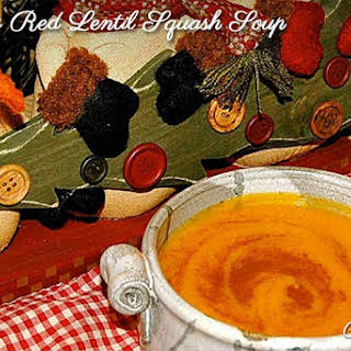 Creamy Coriander Butternut Squash And Red Lentil Soup.