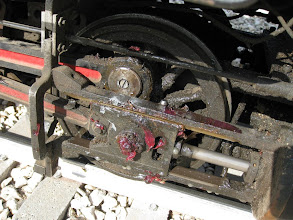 Photo: New slot head bolt keeping side rod on loco after shearing off the old one.