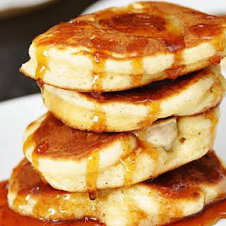 Banana & Coconut Pancakes With Palm Sugar Syrup.
