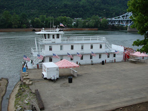 Photo: The Betty Lou shows up first, on the Mongahela River