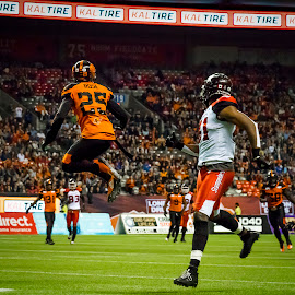 Jumping For The Pass by Garry Dosa - Sports & Fitness American and Canadian football ( sports, jumping, teams, players, cfl, black, football, people, orange, red, white, indoors, stadium, sport )