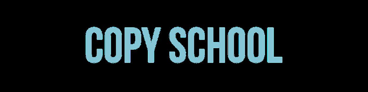 Blue Copy School logo followed by black Copyhackers logo.