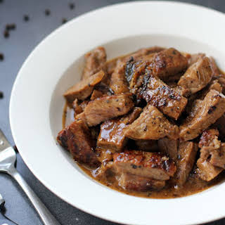 Sliced Tenderloin Steak in Butter Sauce.