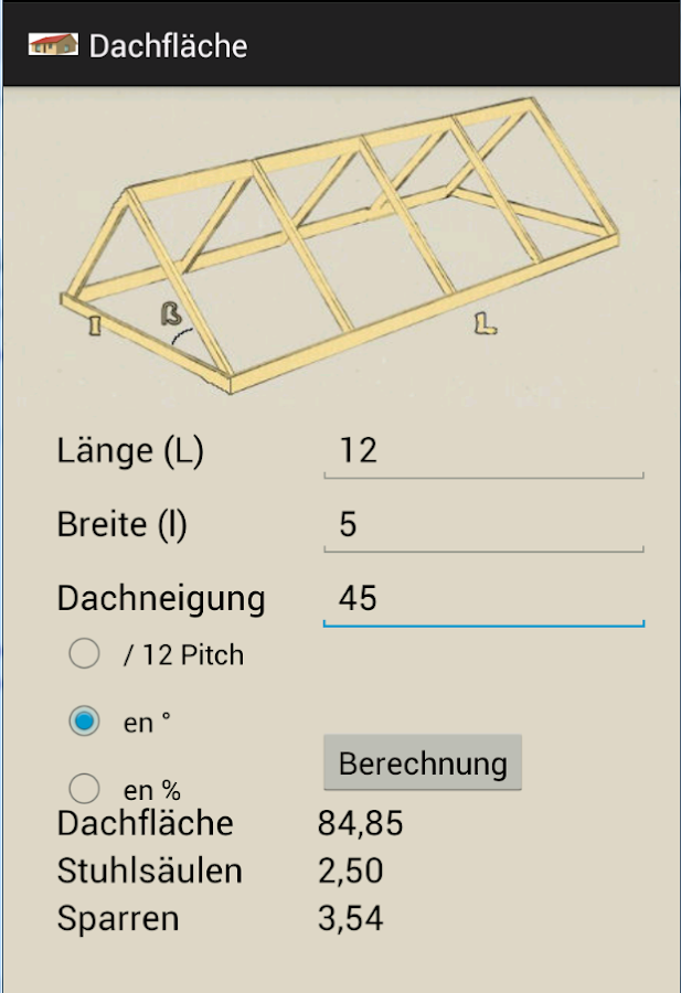 dachfläche calculator – android-apps auf google play