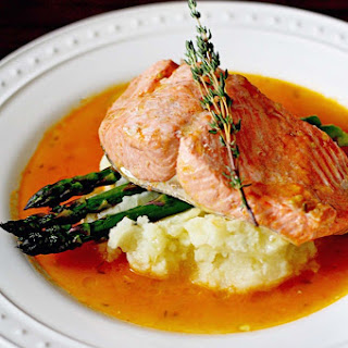 Poached Salmon in Tomato Garlic Broth