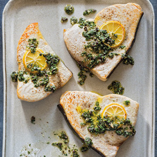 Roasted Swordfish with Ligurian Herb Sauce.