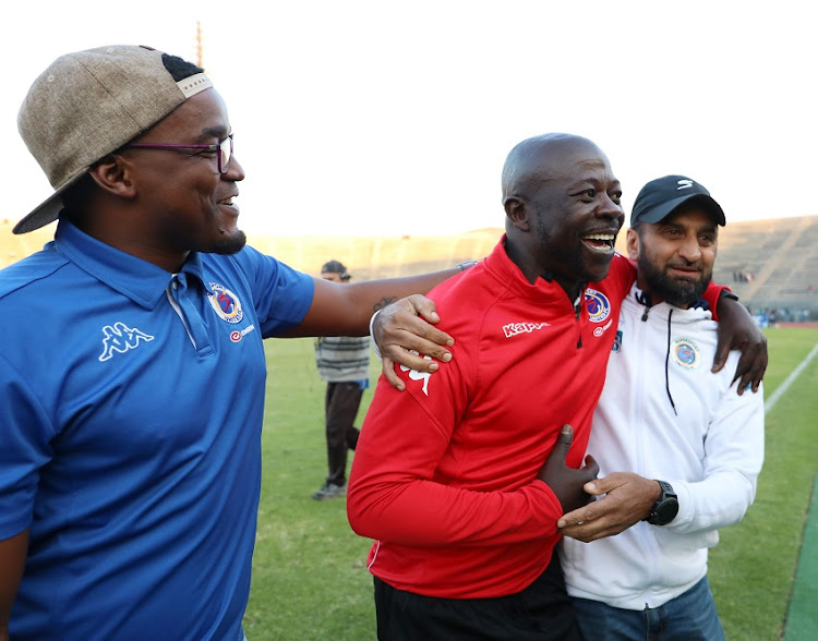 Kaitano Tembo, coach of Supersport United celebrates with Thabo September during the Absa Premiership 2017/18 match between Supersport United and Baroka FC at Lucas Moripe Stadium, Atteridgeville on 12 May 2018.