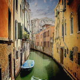 The Canals of Venice by T Sco - Buildings & Architecture Public & Historical ( sky, door, canals, reflection, water, boat, building, stone, venice, venetian, buildings, canal, brick, italy, architecture )
