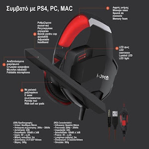 Casti audio gaming i-JMB compatibil PS4/PC/MAC, Negru/Rosu