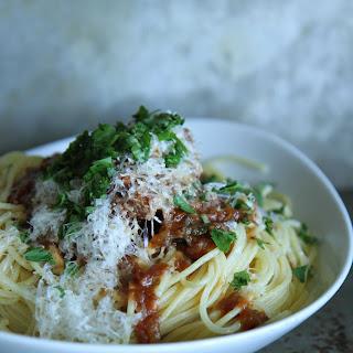 Braised Greek Pot Roast and Spaghetti
