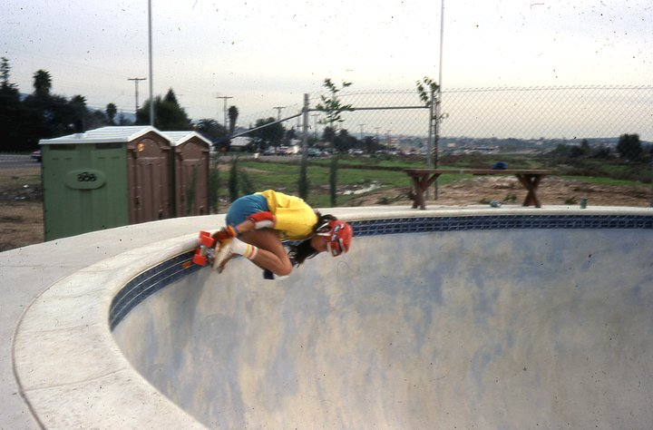 Photo: Kim getting coping again at the Spring Valley Skatepark.