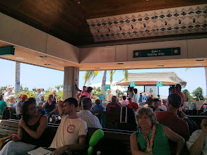 Photo: Waiting at the open-air Kona airport for our flight to Maui