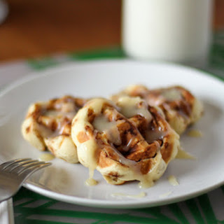 "Cinnamon Roll Waffles with Cream Cheese ""Syrup""."
