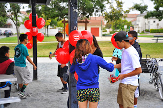 Photo: Volunteers setting up the gathering place.