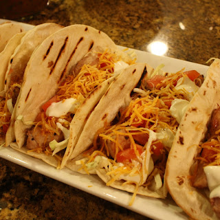 Chicken Soft Tacos (Del Taco White Sauce Imitated) and Salsa on the Side.