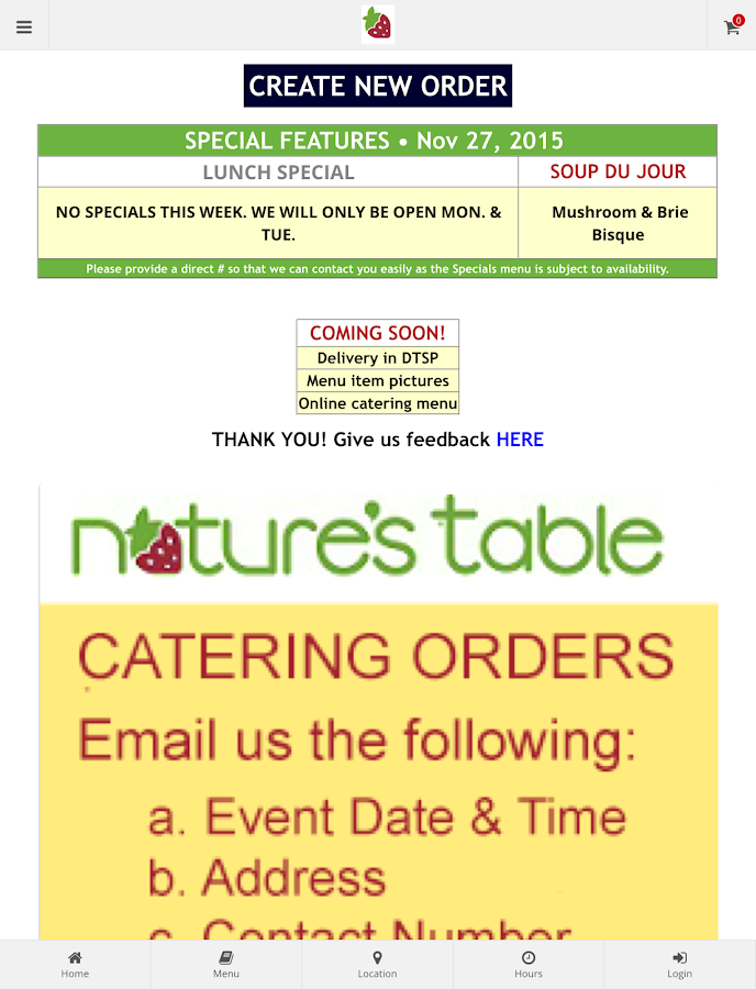 Nature's Table DTSP Ordering- screenshot