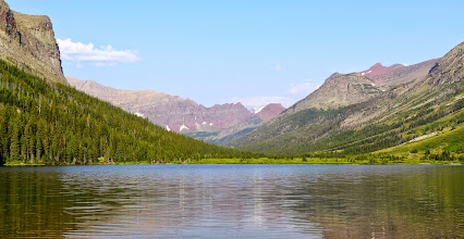 Photo: Poia Lake on our final morning - You can see part of Red Gap Pass in the distance.