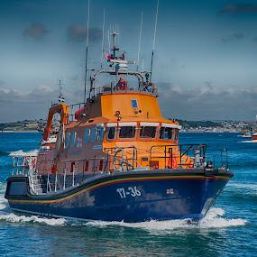 Penlee Lifeboat by Sarah Tregear - Transportation Boats ( lifeboat, sea, boat, rnli, mounts bay, newlyn, penlee,  )