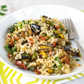 Warm Brown Rice Salad With Roasted Aubergine And Pistachios.