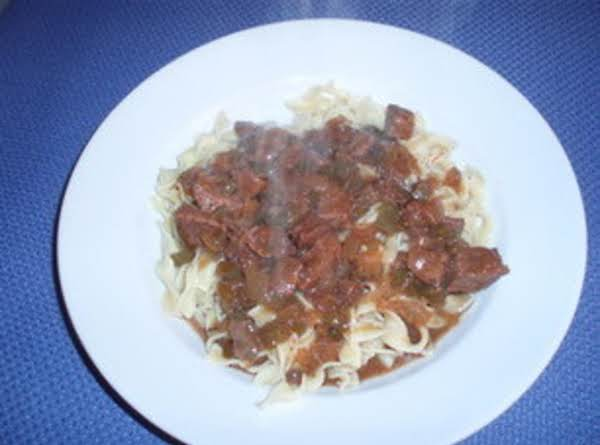 Beef Tips Over Noodles