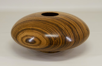 "Photo: Eliot Feldman 8"" x 3 1/2"" hollow form [zebra wood]"