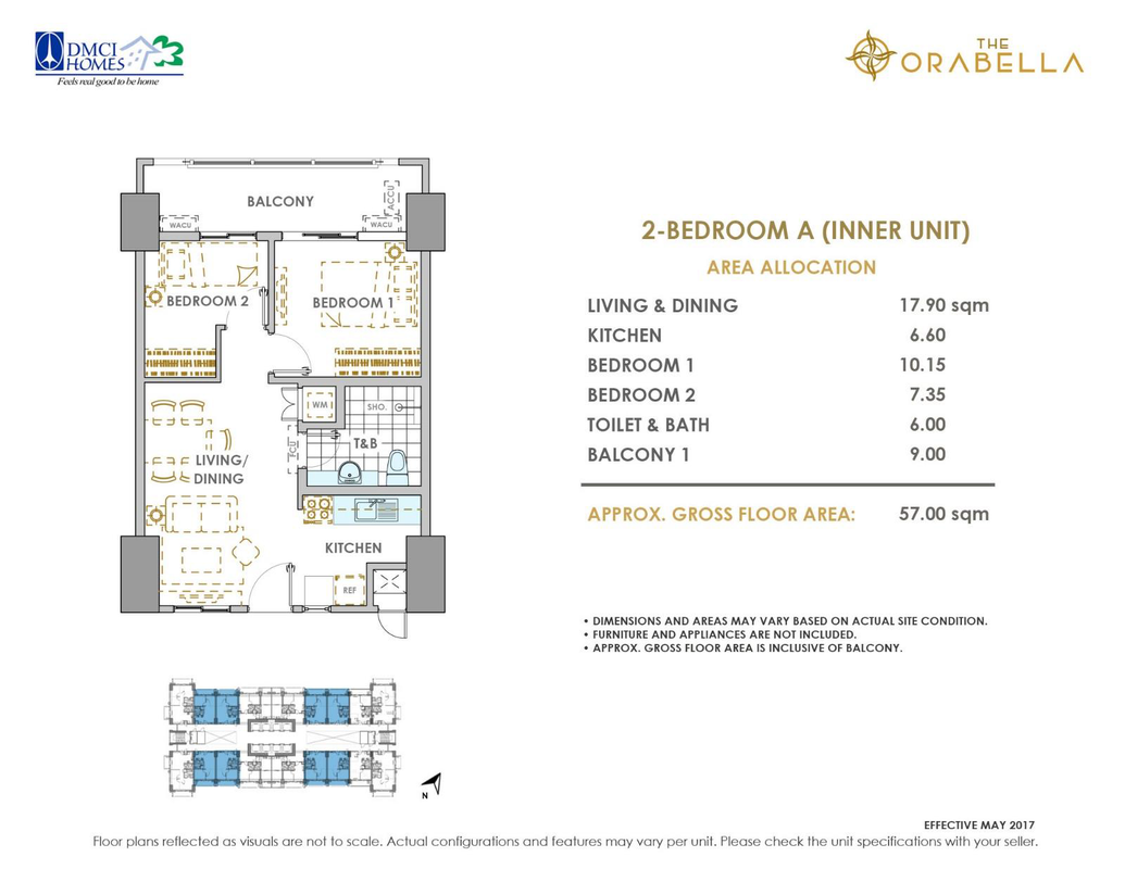 The Orabella, Quezon City 2 bedroom unit plan