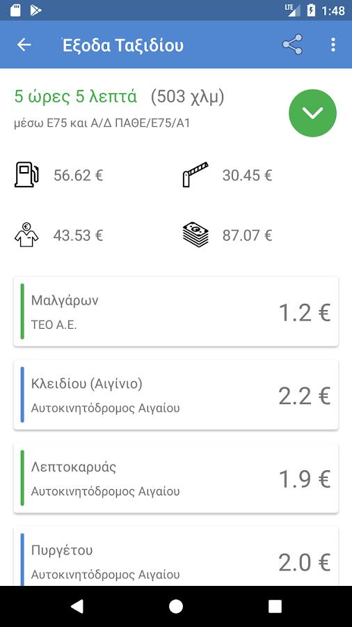 Υπολογιστής Κόστους Ταξιδίου (Ελλάδα) - στιγμιότυπο οθόνης
