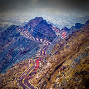 The U Turn by Khaled Noaman - Landscapes Mountains & Hills ( ksa, mountain, u turn, road, taief, light,  )