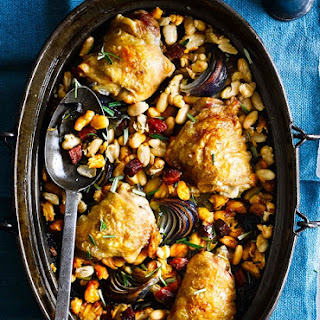 One-pot Chicken With Cannellini Beans and Chorizo.