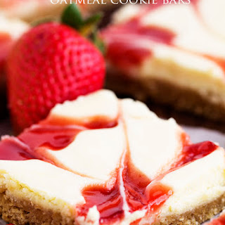 Strawberry Swirl Cheesecake Oatmeal Cookie Bars