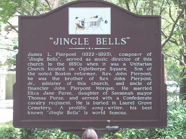 "historical plaque outside the ""Jingle Bells"" church"